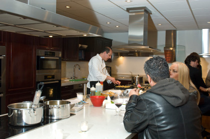 Chef Jason cooking in action at a party for Miele in Beverly Hills