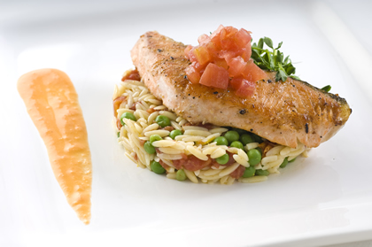 Seared-salmon-with-orzo-and-peas